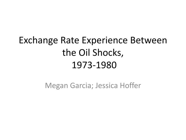 exchange rate experience between the oil shocks 1973 1980 n.