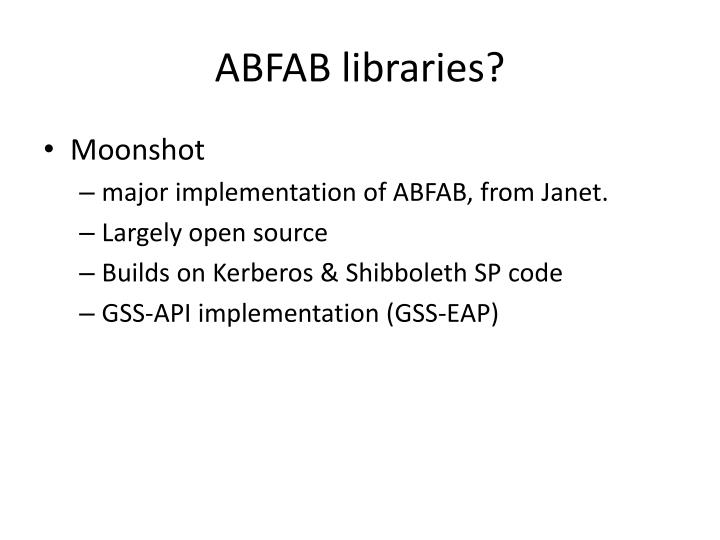 ABFAB libraries?