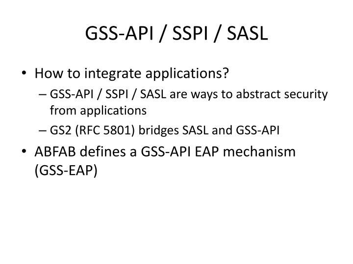 GSS-API / SSPI / SASL