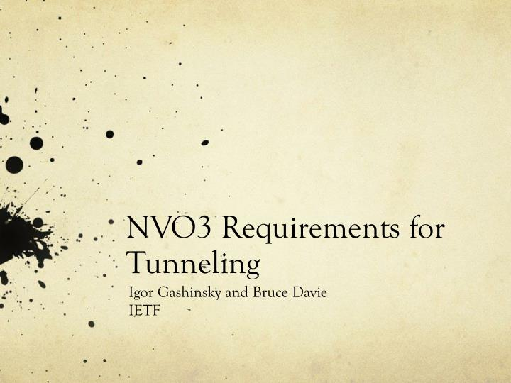 nvo3 requirements for tunneling n.