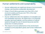 human settlements and sustainability