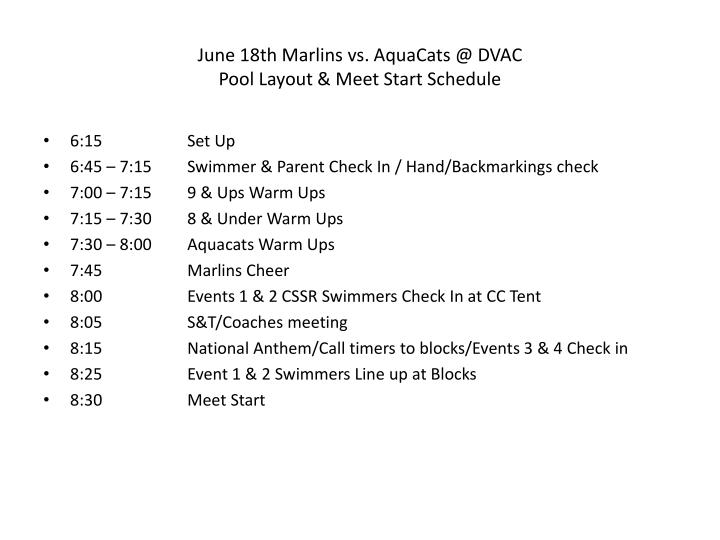 june 18th marlins vs aquacats @ dvac pool layout meet start schedule n.