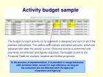 activity budget sample