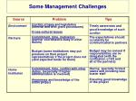 some management challenges
