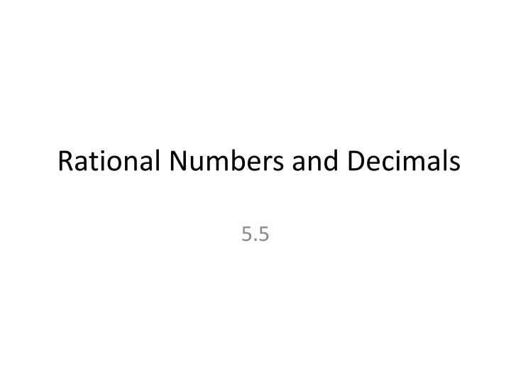 rational numbers and decimals n.