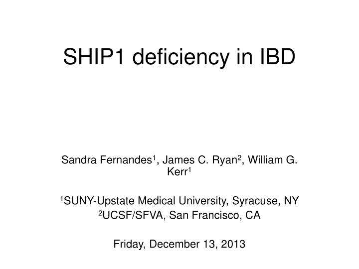 ship1 deficiency in ibd n.