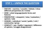 step 1 unpack the question