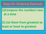 steps for ordering decimals