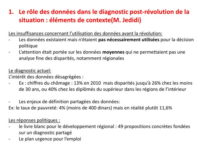 Le rôle des données dans le diagnostic post-révolution de la situation : éléments de contexte(M...