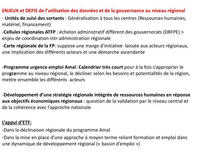ENJEUX et DEFIS de l'utilisation des données et de la gouvernance au niveau régional