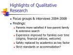 highlights of qualitative research
