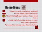 home menu