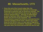 8 massachusetts 1773