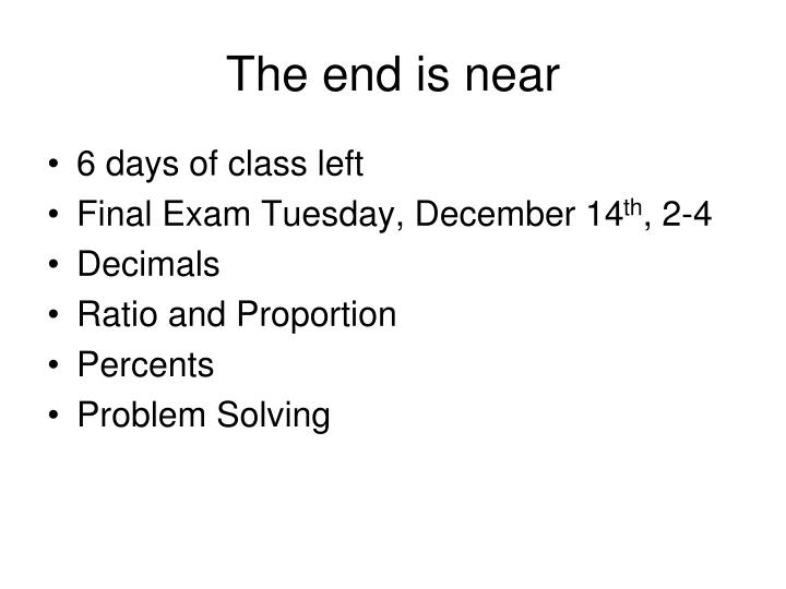 the end is near n.