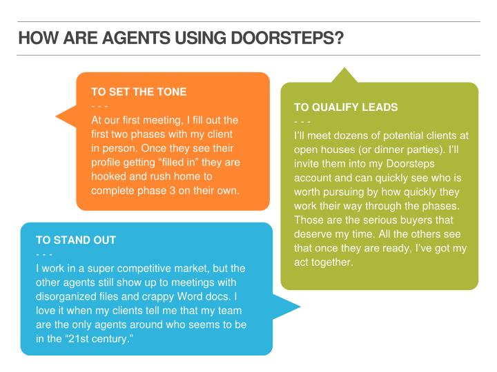 HOW ARE AGENTS USING DOORSTEPS?