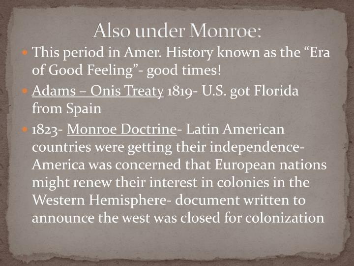 Also under Monroe: