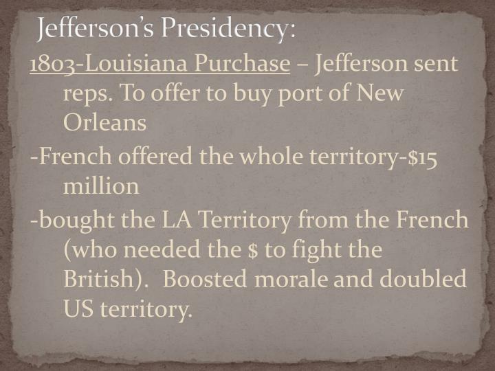 Jefferson's Presidency: