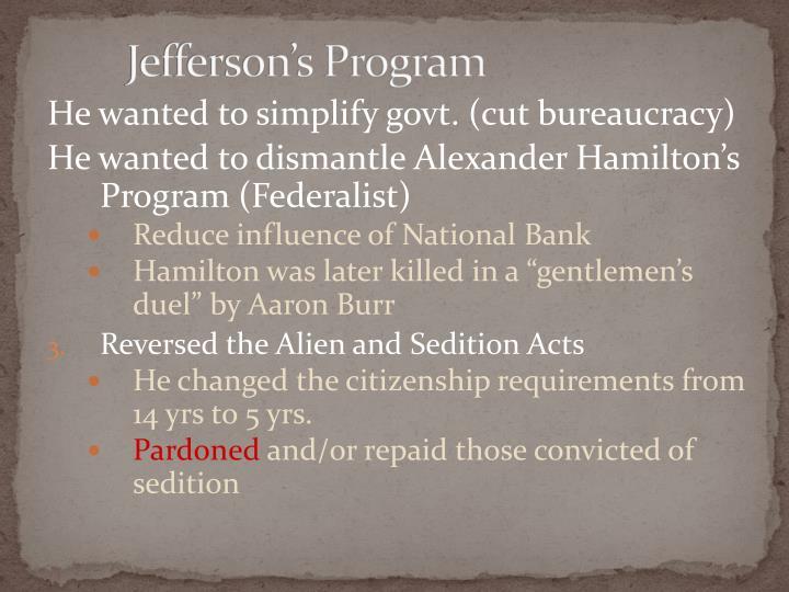 Jefferson's Program
