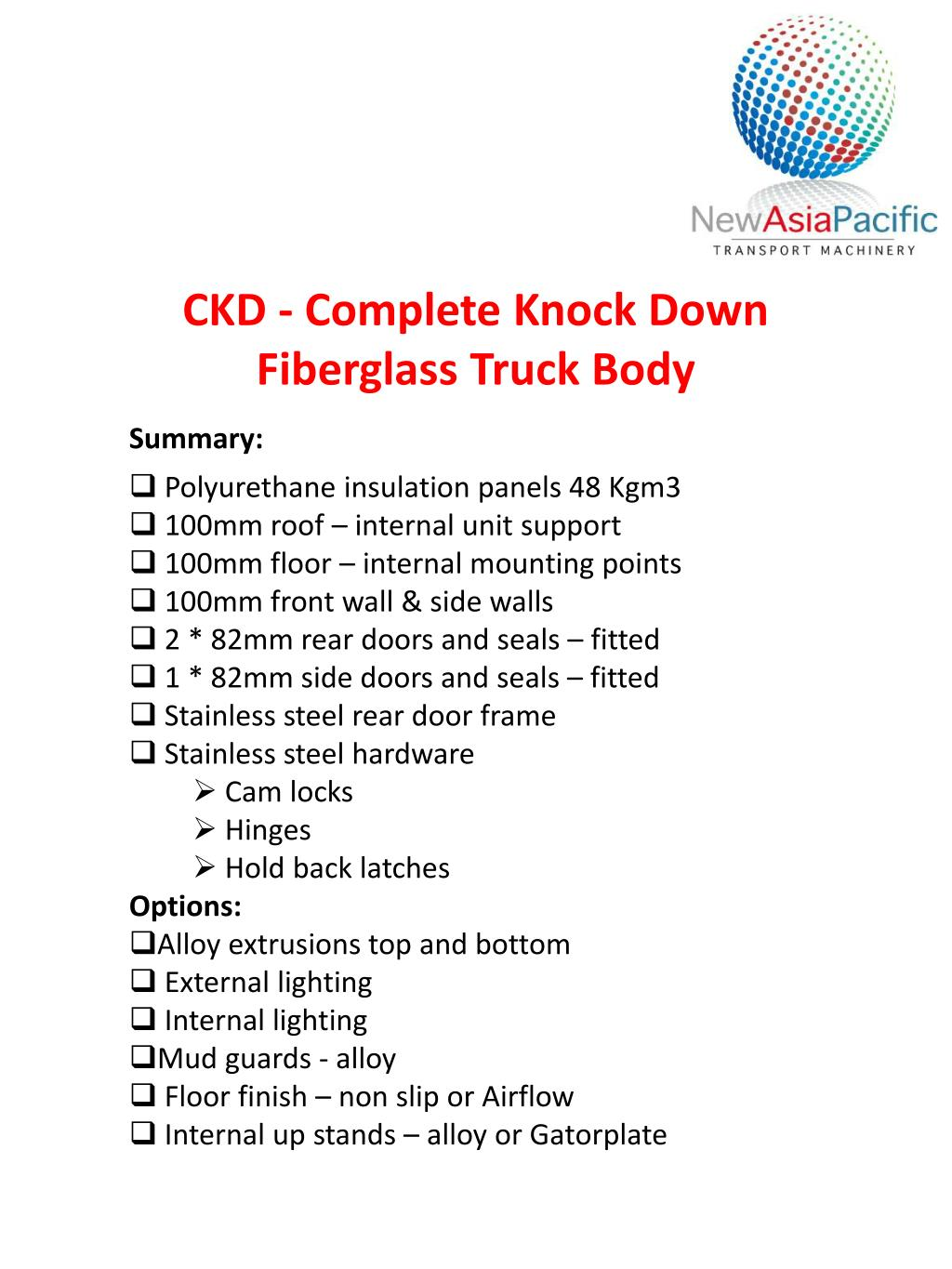 PPT - CKD - Complete Knock Down Fiberglass Truck Body PowerPoint