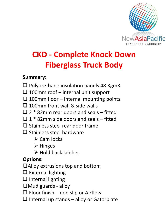 PPT - CKD - Complete Knock Down Fiberglass Truck Body