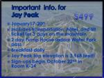 important info for jay peak