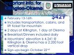 important info for killington okemo