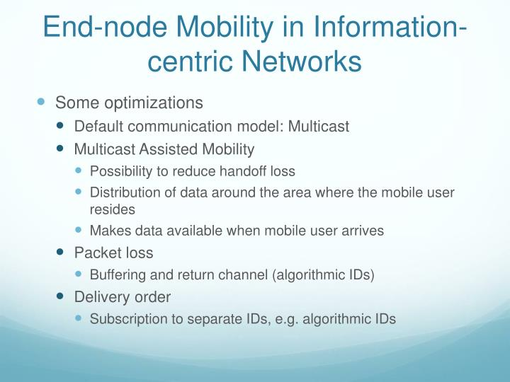 End-node Mobility in Information-centric Networks