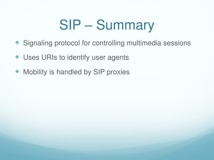 SIP – Summary