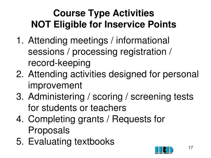 Course Type Activities