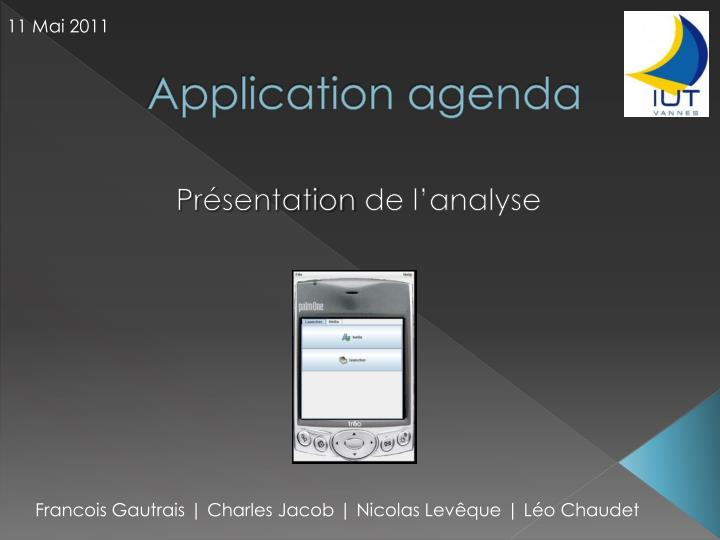 application agenda n.