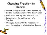 changing fraction to decimal
