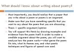 what should i know about writing about poetry