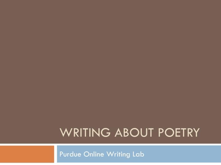 writing about poetry n.