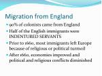 migration from england