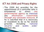 ict act 2006 and privacy rights