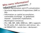 who owns information information commons