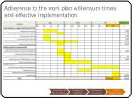 adherence to the work plan will ensure timely and effective implementation