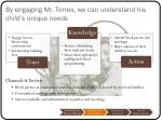 by engaging mr torres we can understand his child s unique needs1