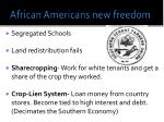 african americans new freedom