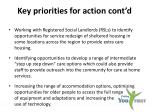 key priorities for action cont d
