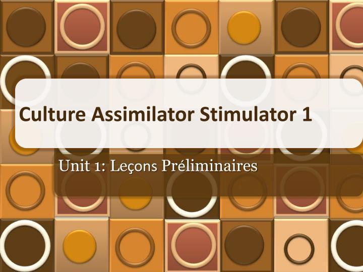 culture assimilator stimulator 1 n.