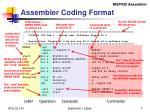 assembler coding format