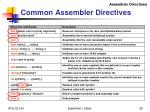 common assembler directives