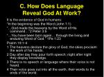 c how does language reveal god at work