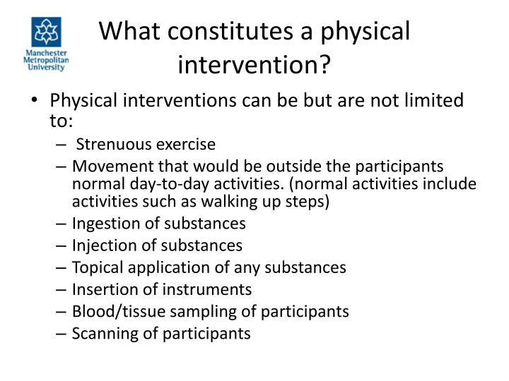 what constitutes a physical intervention n.