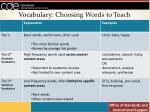 vocabulary choosing words to teach