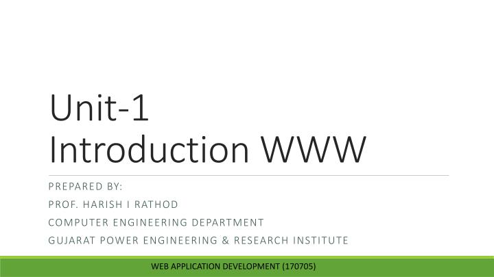 unit 1 introduction www n.