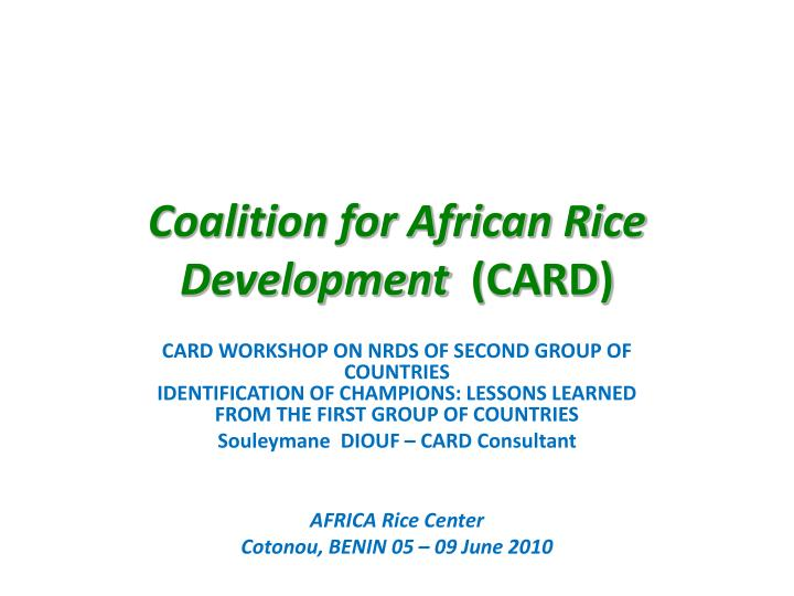 coalition for african rice development card n.