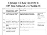 changes in education system with accompaning reforms cont