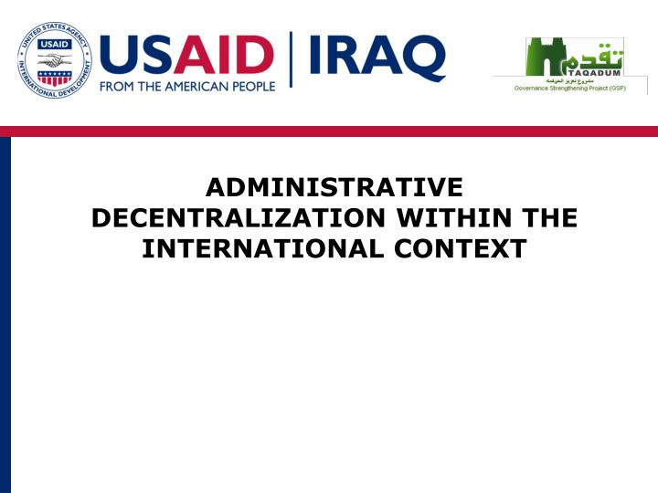 administrative decentralization within the international context n.